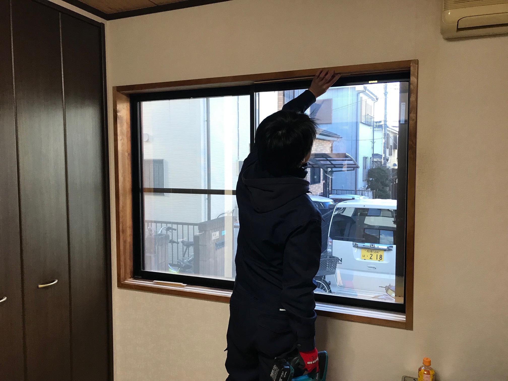 和室小窓施工中